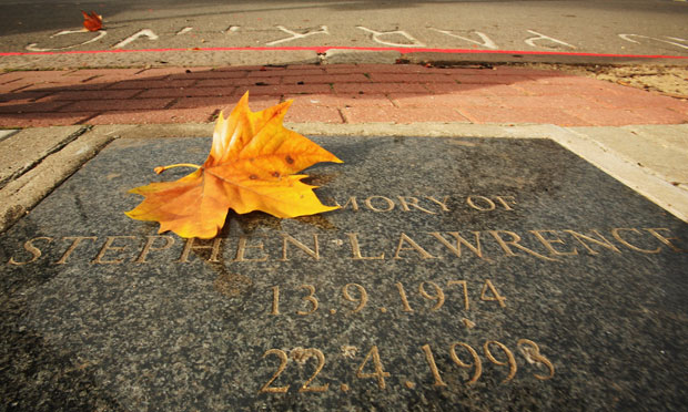 In this photo illustration the memorial plaque dedicated to Stephen Lawrence at the scene of his murder is pictured on November 8, 2007 in London, England.