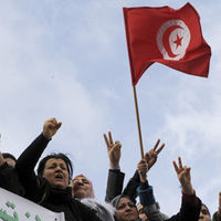 Tunisian protesters call for more rights. January 5, 2012 (Getty)