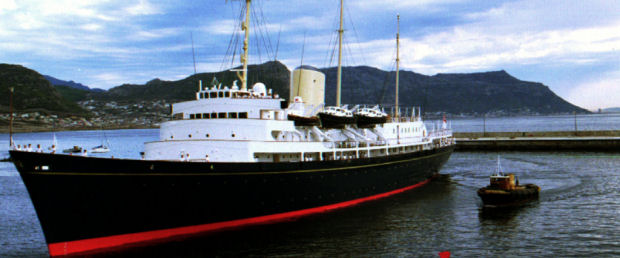 The Royal yacht Britannia docks in Simonstown naval harbour in 1995 (Reuters.)