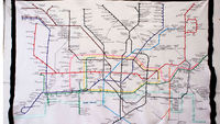 The London underground map designed by Harry Beck and based on an electrical wiring diagram. This version is a tapestry, sewn by Lucy Sparrow. (Getty)