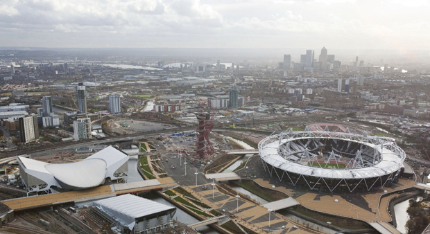 Aerial view of the London 2012 Olympic Park (Reuters.)