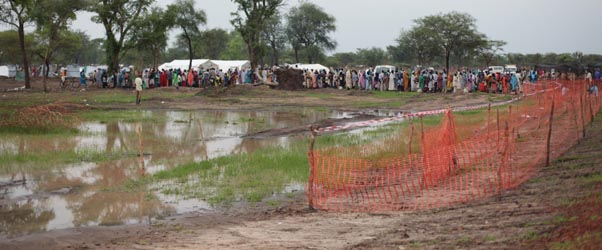Swampy conditions at a South Sudanese refugee camp (Channel 4 News)