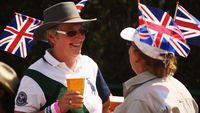 Two tennis fans drinking beer at Wimbledon, one of the 45 2012 Olympics venues