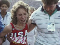 1984: Mary Decker was hot favourite to win gold in the Olympics 3,000 metres final before she collided with Zola Budd. A weeping Decker was carried from the track by her boyfriend.