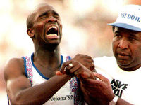 1992: 150 metres into the 400m semi-final at the Barcelona Olympics, Derek Redmond pulled his hamstring. Aided by his father, Redmond crossed the line in tears in one of the most poignant Olympic mome