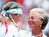 1993: Czech female tennis Jana Novotna was comforted by Katharine, Duchess of Kent, following her defeat to top-seeded Steffi Graf in the Wimbledon final. Novotna won Wimbledon five years later.