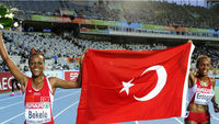 Role model for Turkish women - former Ethiopian runner Elvan Abeylegesse (left) (Getty)