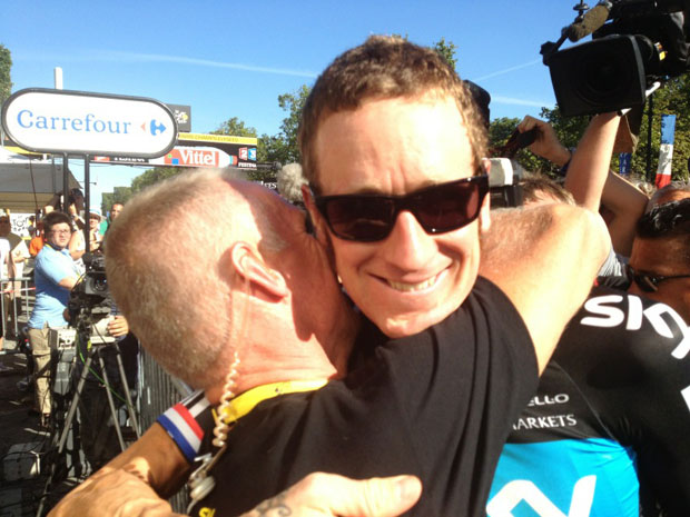 Brad with his coach after TDF win