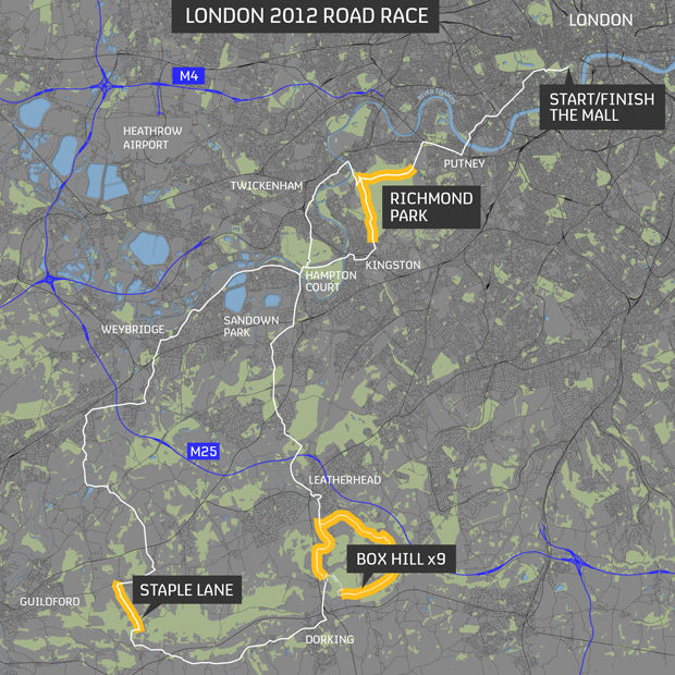 London 2012 Road Race Map
