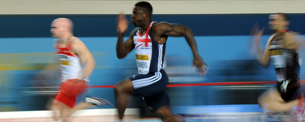 Britain's Dwain Chambers (C) competes in the men's 60m qualifications at the 2012 IAAF World Indoor Athletics Championships (Getty)
