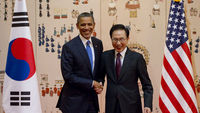 US President Barack Obama and South Korean President Lee Myung-Bak are showcasing their countries' alliance (Getty)