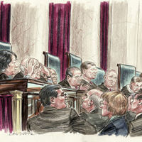Court drawing of SCOTUS session (Reuters)