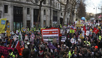 Tens of thousands of civil servants are striking on Thursday in a dispute over the government's public sector pensions reforms (Reuters)