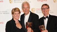 Jon Snow and Channel 4 News' editor Jim Gray receive the best news coverage Bafta (photo credit: Bafta)