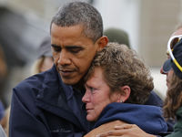 ObamaHug UUS President Barack Obama hugs marina owner after it was destroyed by Hurricane Sandy in New Jersey (Reuters).