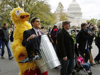 The Million Muppet March was organised after Mitt Romney declared he would cut funding to public television - including Big Bird.