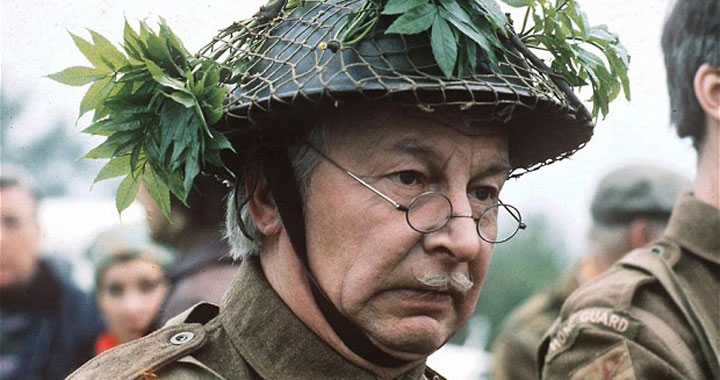 Clive Dunn on location filming Dad's Army (pic: Getty)