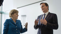 David Cameron holds talks with German Chancellor Angela Merkel at Downing Street less than three weeks before a crunch summit on the EU budget (Reuters)