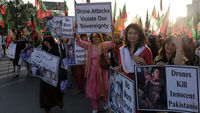 Women protest in Pakistan over the US drones policy (Getty)