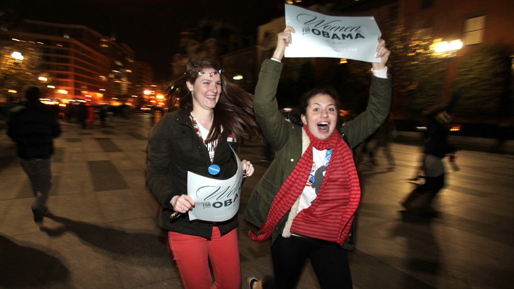 Obama's supporters celebrate the president's reelection (Reuters)