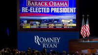Romney crowd watch Obama victory declared (getty)