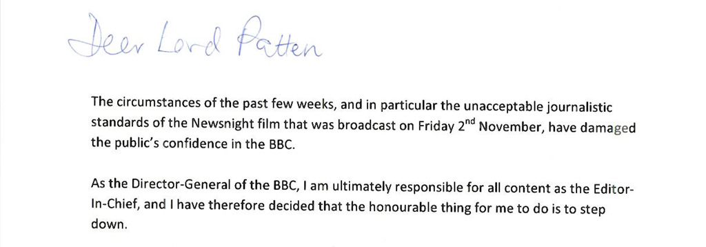 George Entwistle letter