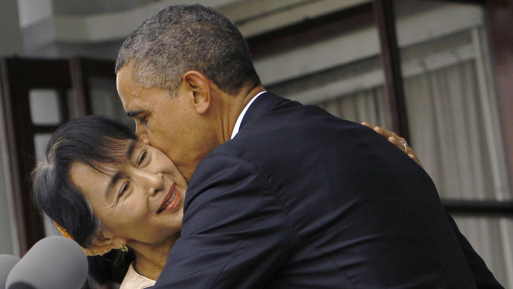 Barack Obama embraces Aung San Suu Kyi (Reuters)