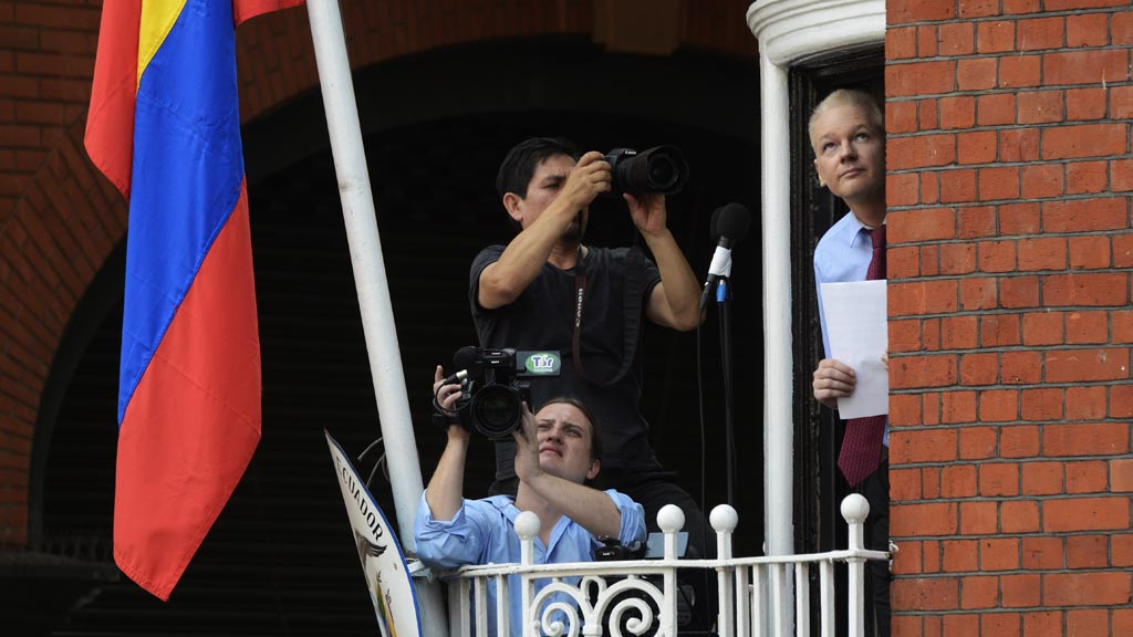 Wikileaks founder Julian Assange on the balcony of the Ecuadorean embassy (Getty)