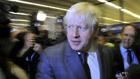 Boris Johnson arrives at the Conservative conference (Reuters)