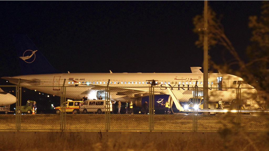 A Syrian passenger plane which was forced to land over claims it was carrying military supplies (Reuters)