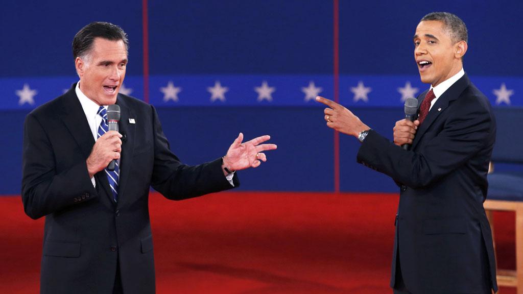 NewsUS President Barack Obama and White House hopeful Mitt Romney during the second TV debate (Reuters)
