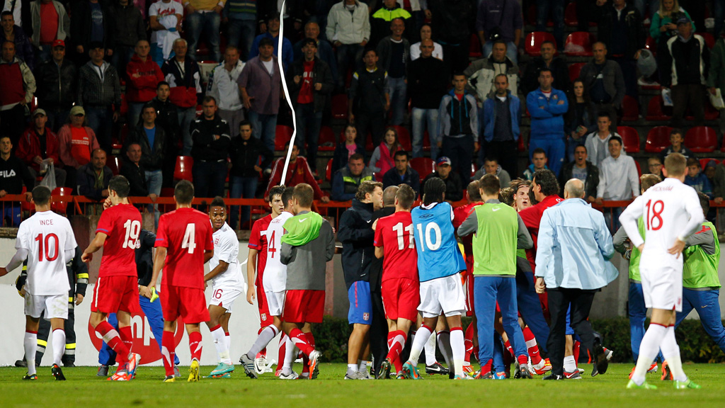 Players clash at the England vs Serbia Under 21 game (Getty)