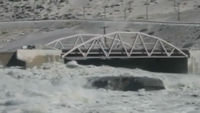 On 12 July one of Greenland's few road bridges was swept away