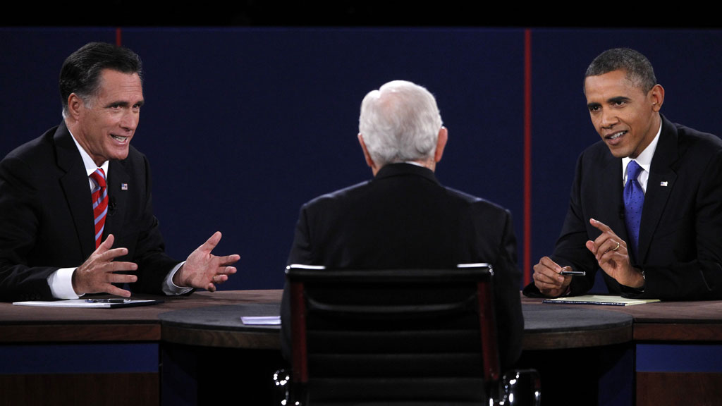 Romney (l) and Obama (r) in Monday's debate (pic: Reuters)