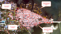 Satellite images obtained by Human Rights Watch showing hundreds of buildings apparently destroyed (Credit: Human Rights Watch)