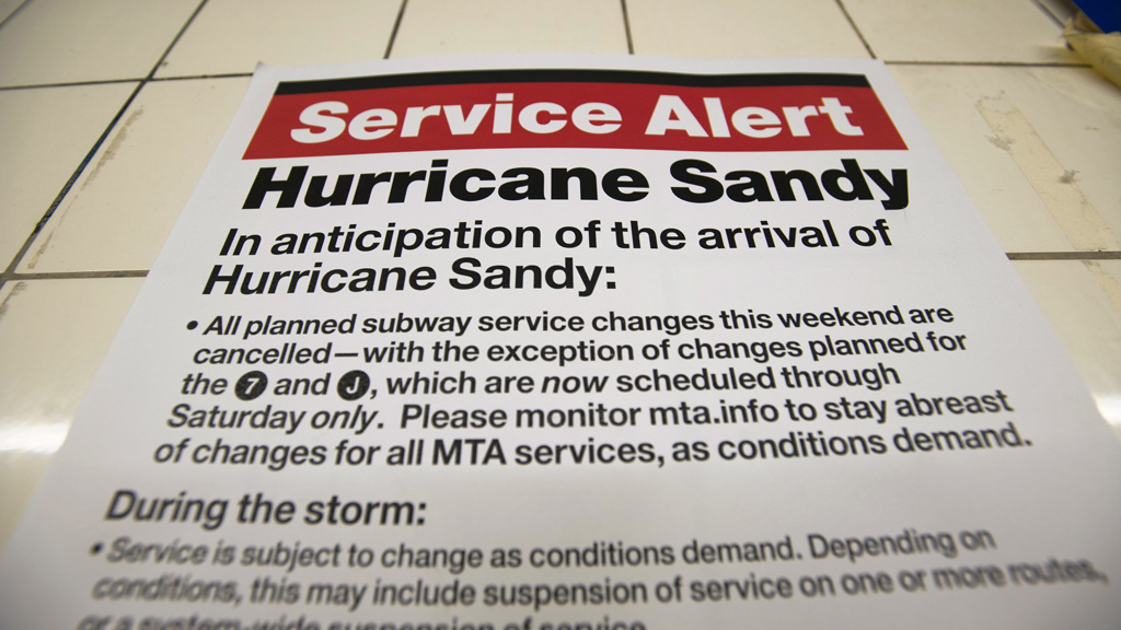 Hurricane sandy warning (reuters)