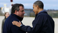 Obama greets Gov Christie (reuters)