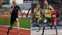 Jonnie Peacock (L) and Oscar Pistorius go head to head on Thursday in the T44 final (Getty)