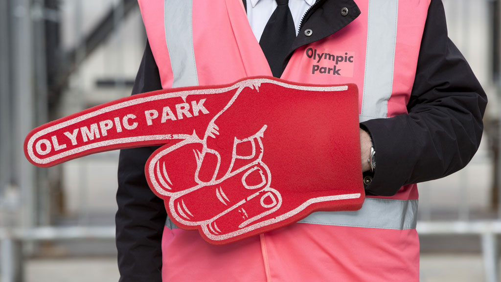 Games maker with giant foam finger (reuters)