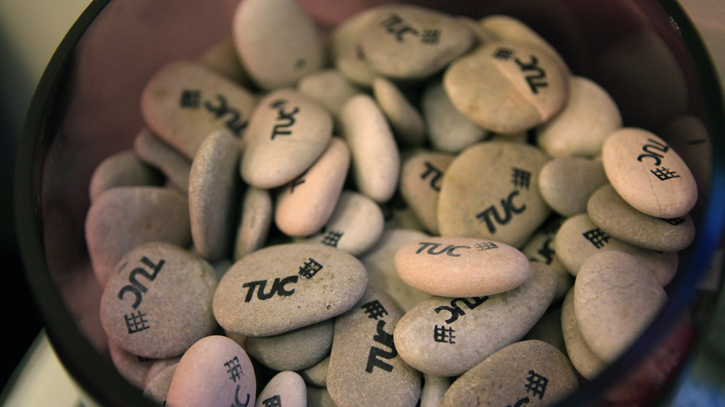 TUC branded pebbles at the organisation's 2011 conference (Getty)