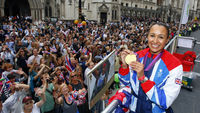 Sportsmen and women who have become familiar faces to millions of Britons during the Olympics and Paralympics celebrate their success at an open-top parade through central London.