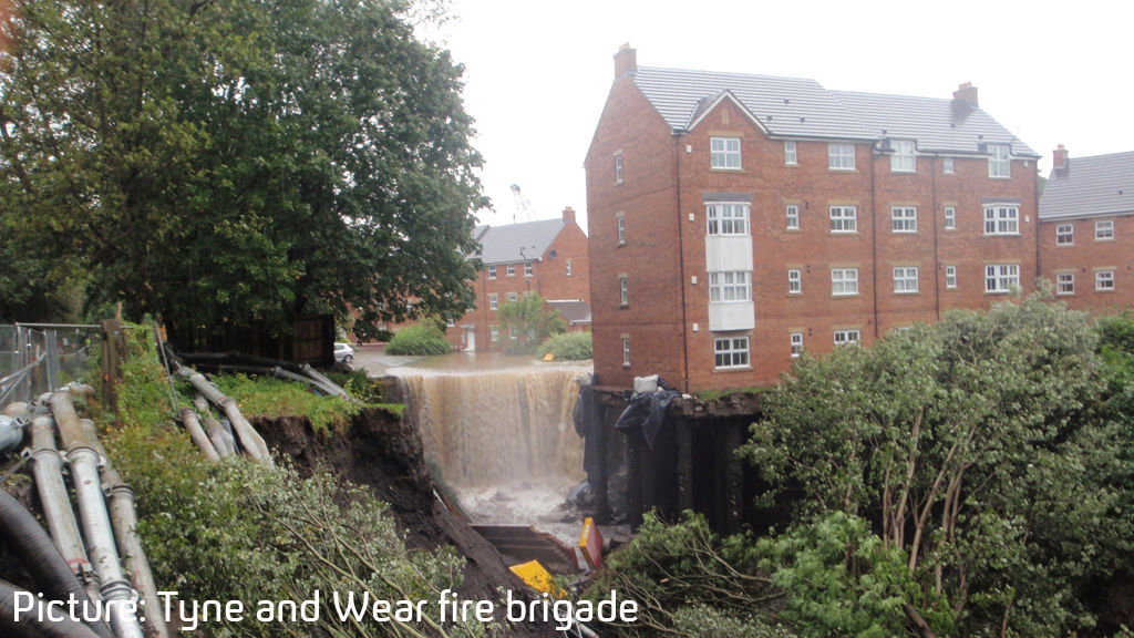 A block of flats at Spencer Court, Newburn, Newcastle upon Tyne which is in danger of collapse following heavy rain (Credit: Tyne and Wear fire brigade)