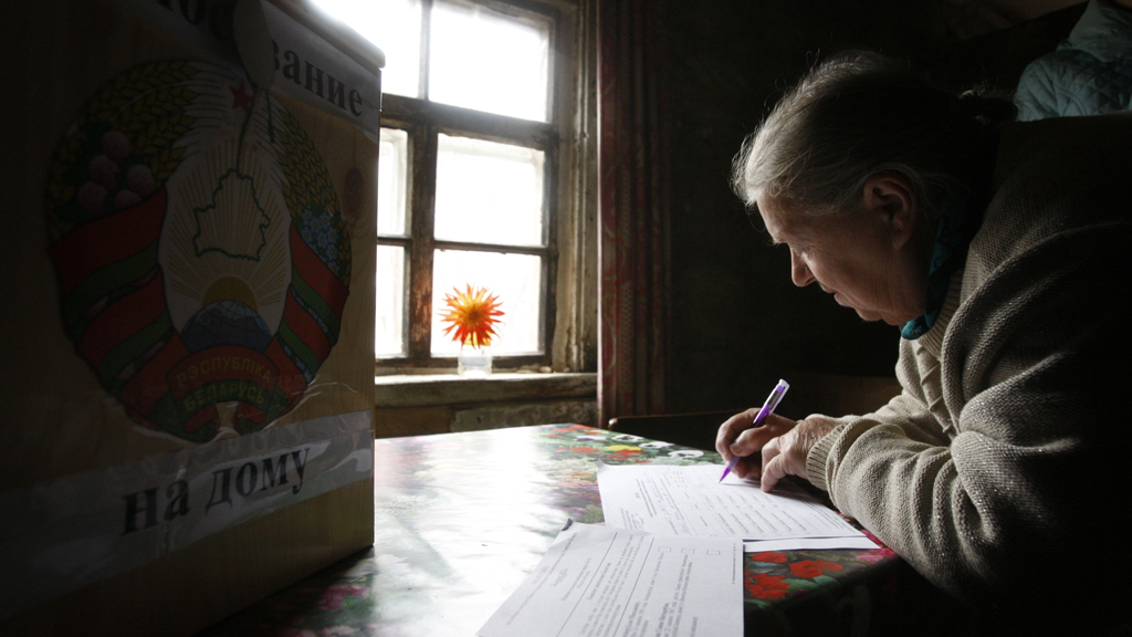 A voter in the 2012 disputed election of Belarus (Reuters)