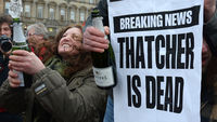 Hundreds of people celebrated yesterday following the death of Margaret Thatcher (pictures: Getty)