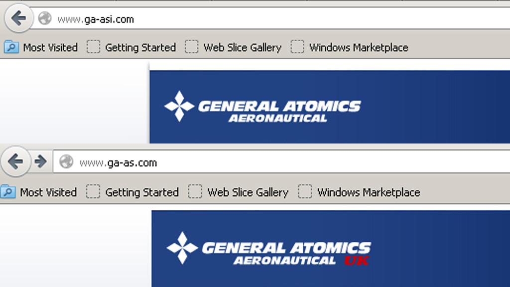 Real and fake General Atomics web address.