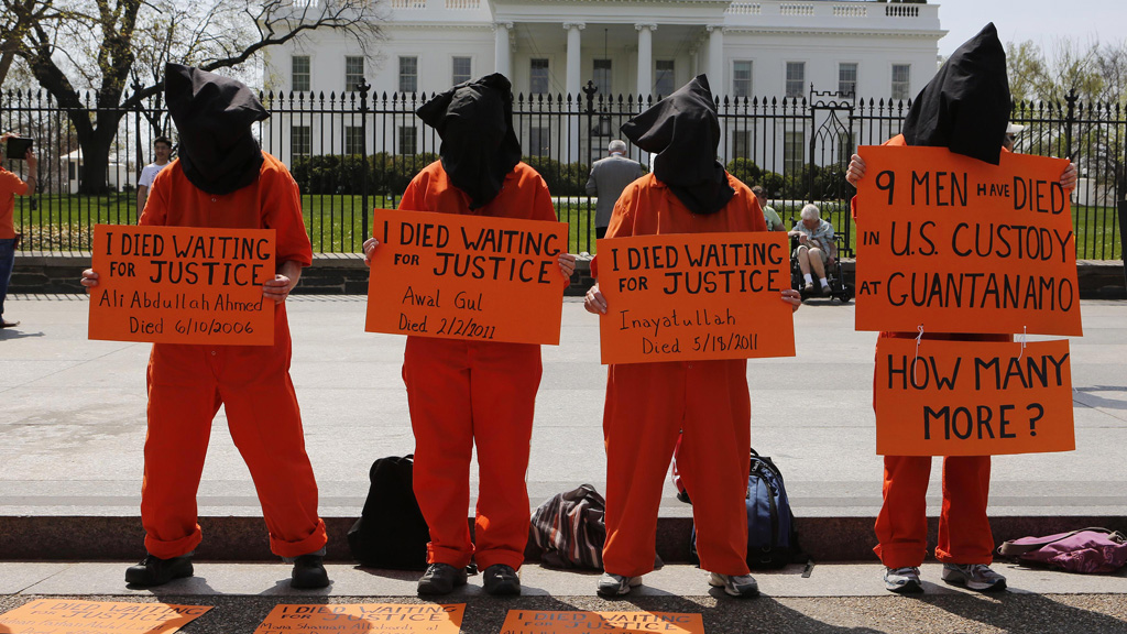 Protestors gathered outside the White House last week calling for the closure of Guantanamo bay (picture: Reuters)