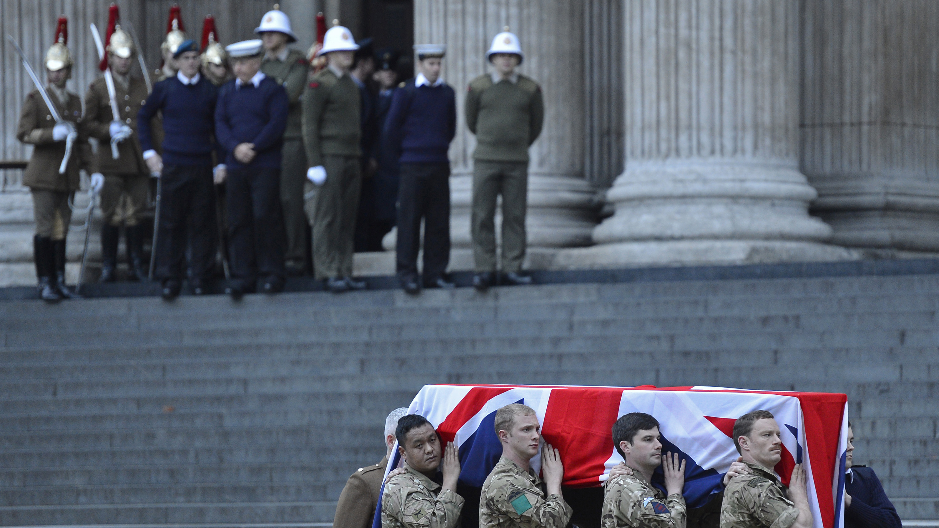 Soldiers rehearse for Lady Thatcher's funeral