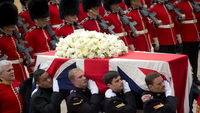 The biggest political funeral since Sir Winston Churchill's death almost half a century ago is held for Margaret Thatcher at St Paul's cathedral, with readings from politicians and family (Getty)
