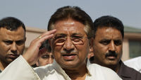 The former Pakistani president Pervez Musharraf is arrested at his home in Islamabad after fleeing a court which had ordered his detention (Reuters)