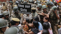 Demonstrators protest following an alleged child rape in India (pic: Reuters)